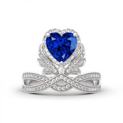 """Jeulia """"Forever By My Side"""" Angel Wing Heart Cut Sterling Silver Ring"""