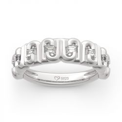 "Jeulia ""J"" Design Emerald Cut Sterling Silver Women's Band"