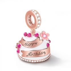 """Happy Birthday"" Birthday Cake Charm Engravable Personalized Pendant Dangle"
