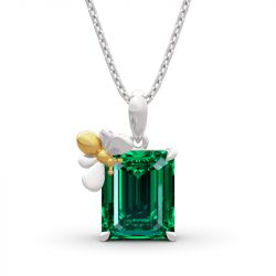 "Jeulia ""Honey Bee"" Emerald Cut Sterling Silver Necklace"