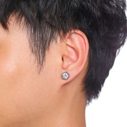 Jeulia Punk Style Vintage Stainless Steel Men's Earrings