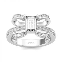 Jeulia Unique Design Emerald Cut Sterling Silver Ring