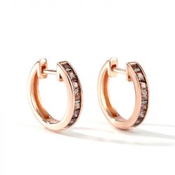 Jeulia Classic Princess Cut Sterling Silver Hoop Earrings