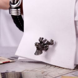 Jeulia Funny Deer Head Design Copper Men's Cufflinks