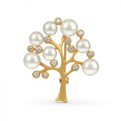 "Jeulia ""Tree of Life"" Cultured Pearl Sterling Silver Brooch"