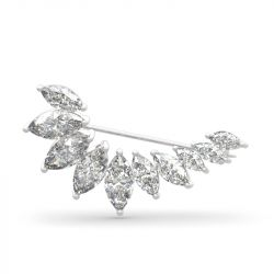 Jeulia Unique Design Marquise Cut Sterling Silver Brooch