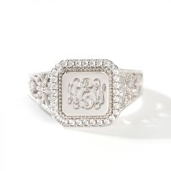 "Jeulia ""Be a Queen"" Monogram Personalized Sterling Silver Ring"