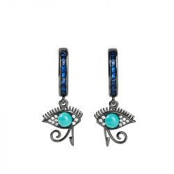 "Jeulia ""Eye of Horus"" Vintage Turquoise Sterling Silver Earrings"