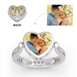 "Jeulia ""Keep Me In Your Heart"" Tulip Sterling Silver Personalized Photo Ring (With A Free Chain)"