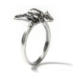 "Jeulia ""Petite Fella"" Mouse Sterling Silver Men's Ring"