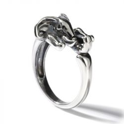 "Jeulia ""Maternal Love"" Elephant Sterling Silver Men's Ring"