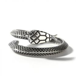 "Jeulia ""Pure Desire"" Snake Sterling Silver Men's Ring"
