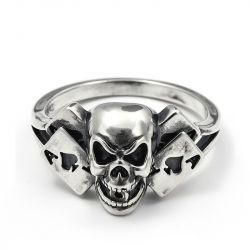 "Jeulia ""Poker Cards"" Skull Sterling Silver Men's Ring"