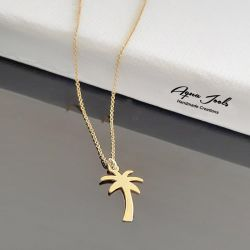"Jeulia ""I'm Cool"" Palm Tree Sterling Silver Necklace"