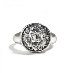 """Jeulia """"King of Beasts"""" Lion Sterling Silver Men's Ring"""