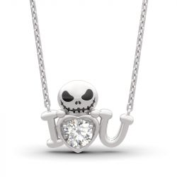 "Jeulia ""Love from Pumpkin King"" Skull Design Round Cut Sterling Silver Necklace"