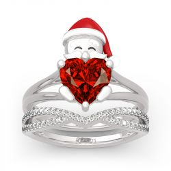 "Jeulia ""Santa Claus"" Heart Cut Sterling Silver Ring Set"