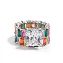 """Jeulia """"Blazing with Color"""" Radiant Cut Sterling Silver Ring Set"""