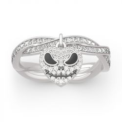 "Jeulia ""Pumpkin King"" Heart Twist Design Sterling Silver Skull Ring"