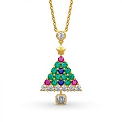 "Jeulia ""Christmas Tree"" Round Cut Sterling Silver Necklace"