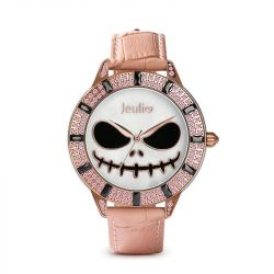 "Jeulia ""Magic at Midnight"" Skull Design Quartz Pink Leather Watch with Mother-of-Pearl Dial"