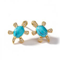 "Jeulia ""Wise Tortoise"" Turquoise Design Sterling Sliver Earrings"