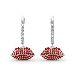 "Jeulia ""Enthusiasm"" Red Lips Sterling Sliver Earrings"