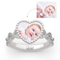 """Jeulia """"Endless Love"""" Sterling Silver Personalized Photo Ring"""
