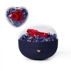 Jeulia Heart Shape Eternal Flower Jewelry Box
