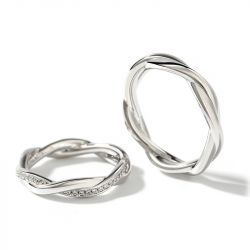 """Jeulia """"Interweaving of Love"""" Sterling Silver Couple Rings"""