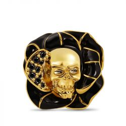 Black Flower with Skull Charm Bead Sterling Silver 18k Gold Plated