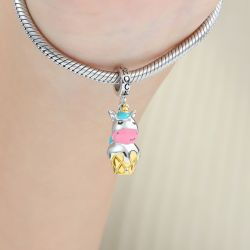 Unicorn Ice Cream Pendant Dangle Charm Sterling Silver