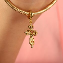 Vintage Cross Pendant Dangle Charm Sterling Silver 18k Gold Plated