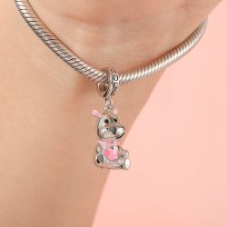 Cute Hippo Pendant Dangle Charm Sterling Silver