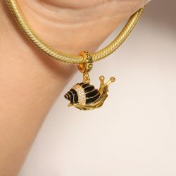 Snail Pendant Dangle Charm Sterling Silver 18k Gold Plated