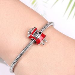 Blood Bag Charm Bead 925 Sterling Silver Enamel