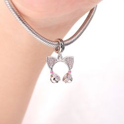 Cat Ear Headphone Charm Pendant 925 Sterling Silver