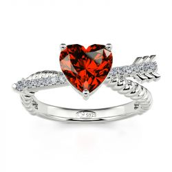 """Jeulia """"Arrow to Your Heart"""" Sterling Silver Ring"""