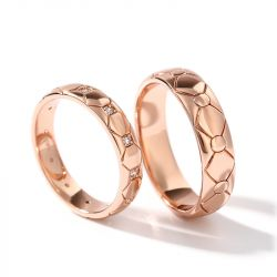 """Jeulia """"Eternal Love"""" Rose Gold Tone Sterling Silver Couple Rings"""