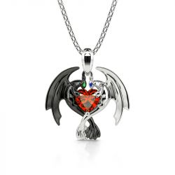 "Jeulia Hug Me ""Strongest Romance"" Dragon Couple Heart Cut Sterling Silver Necklace"