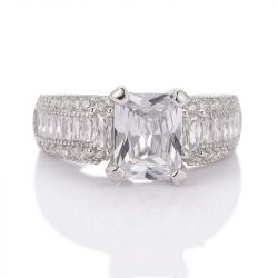 Jeulia Classic Radient Cut Sterling Silver Ring