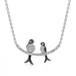 Jeulia Birds on a Branch Mother and Baby Nature Jewelry Sterling Silver Necklace