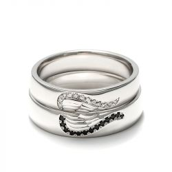 Jeulia Angel Wings Creative Engraved Sterling Silver Couple Rings