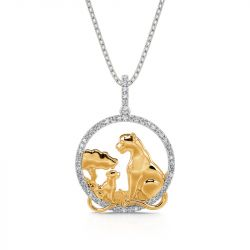 """Jeulia """"The Future Jungle King"""" Mom and Baby Lion Pendant Sterling Silver Necklace"""