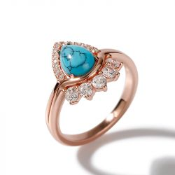 Jeulia Pear Cut Turquoise Vintage Art Deco Sterling Silver Ring