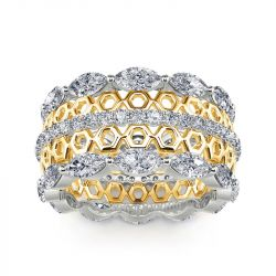 Jeulia Two Tone Vintage Honeycomb Hollow Sterling Silver Women's Band