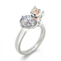 """Jeulia Hug Me """"Balloon Cat"""" Round Cut Sterling Silver Ring"""