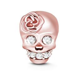 Rose Gold Tone Skull Charm Sterling Silver
