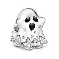 """""""Trick-or-Treating"""" Ghost Sterling Silver Charm"""