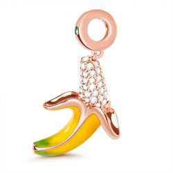 """Banana Makes Me Happy"" Sterling Silver Dangle Charm"